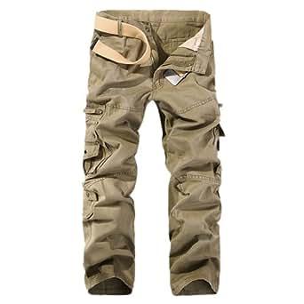 Aubig Homme Coton Pantalon de travail Ochre Cargo Jeans Militaire Salopette - Taille asiatique 38