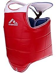 Perfeclan Boxeo Transpirable Protector De Pecho De Taekwondo Adultos Niños Cuerpo Cofre Cintura Guardia - Azul + Rojo, M