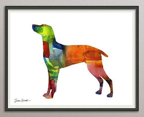 weimaraner Rasse Hunde Hunderasse Fine Art Print Aquarell Silhouette Profil Poster Kunstdruck Plakat modern ungerahmt DIN A 4 Deko Wand Bild -