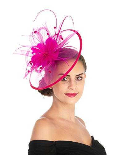 Lucky Leaf Damen Fascinators Hair Clip Hairpin Hat Feather Cocktail Wedding Tea Party Hat (1-8-Fuschia) - Ausgestattet Hüte 2 Größe 8 1