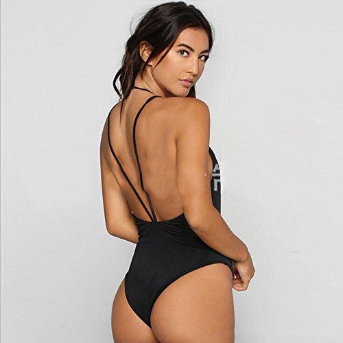 Sissiren Damen Schwarz Tief V Ausschnitt Bikini Rückenfrei Bademode Badeanzug Schwarz