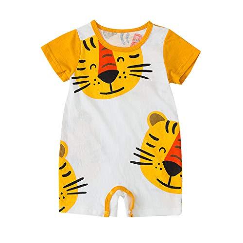 18 Monat Baby Jungen Sommer Kurzarm Karikatur Drucken Strampler Toddler Kinder Rundhals Tiger Gemustert Strampelanzug Schlichtes Neugeborenes Kleinkind Kleidung Jumpsuits ()