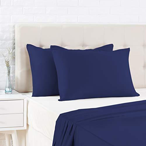 AmazonBasics - Funda de almohada de satén - 40 x 80 cm x 2, Azul oscuro