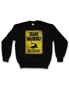 Shark Warning Sign II Sweatshirt – Tiburón Advertencia Señal de Aviso Surfer Surfing Diver Australia Maui Jaws...
