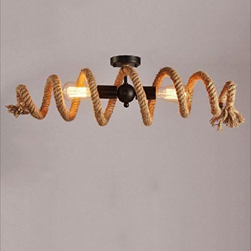 Seil-anhänger-beleuchtung (Modeen E27 Eisen Hanf Seil Doppelte Kopf Vintage hängende Anhänger Deckenleuchte Lampe industrielle Retro Country Stil Speisesaal Restaurant Bar Cafe Beleuchtung AC240V)