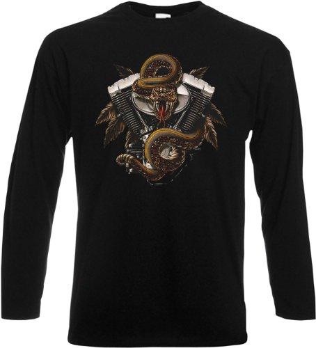 Cooles Herren Langarmshirt, Farbe: Schwarz, USA Biker Motiv: Engine and Snake Schwarz