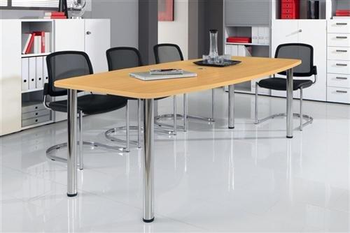 Konferenztisch - Gestellvariante Rundrohrbeine, für 8 Personen - Buche-Dekor - Besprechungstisch Besprechungstische Besuchertisch Besuchertische...