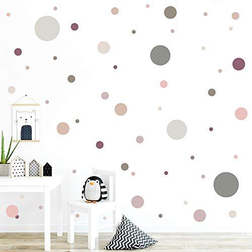 malango® 78 Wandsticker in vielen verschiedenen Farbkombinationen Punkte Kinderzimmer Wandtattoo selbstklebend Kids dunkellila-beige-Altrosa-lachsrosa