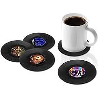 dooppa 4pcs Retro disco de vinilo de taza alfombrilla Classic música estilo Retro Copa Mats