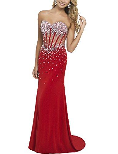 Hotprom Damen Meerjungfrau Tr?gerlos Illusion Mieder Lange Ballkleider Abendkleider Abschlussballkleid Formale Kleider Gr??e 44 Rot (Illusion-mieder-kleid)