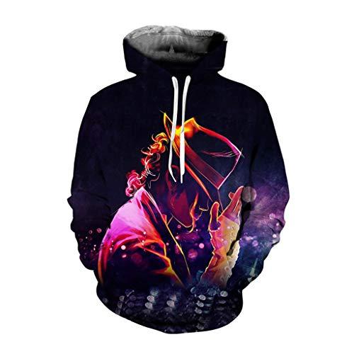 MFsports Michael Jackson Unisex 3D Druck Hoodie Junge Mädchen Kapuzenpullover Langarm Sweatshirt Kapuzenjacke Mit Taschen (Kids Für Michael Jackson-jacke)
