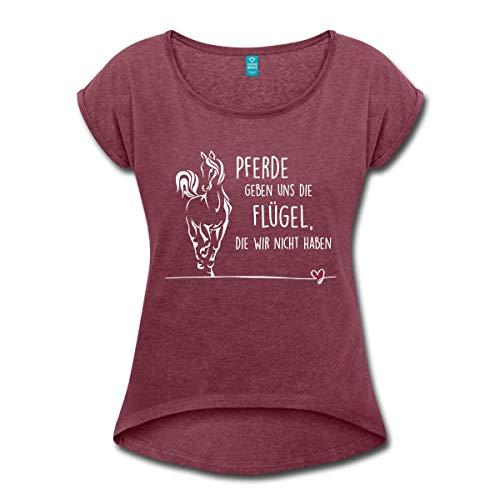Spreadshirt Pferde Geben Uns Flügel Reiter Spruch Frauen T-Shirt mit gerollten Ärmeln, XL (42), Bordeauxrot meliert