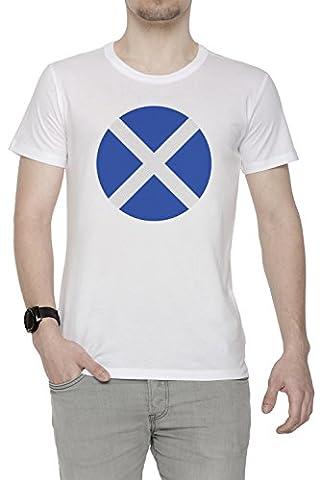 Écosse nationale Drapeau Homme T-Shirt Cou D'équipage Blanc Coton Manches Courtes Men's T-Shirt White