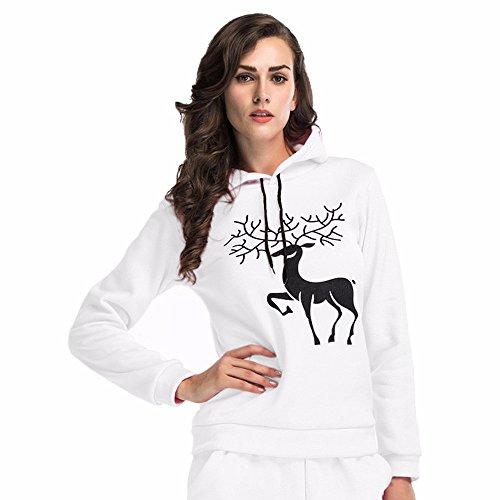 OSYARD Navidad Sudadera con Capucha suéter de Vacaciones señoras Mujeres Renos impresión Punto Manga Larga Suelta Blusa Casual Tops Sport Camiseta(M, Blanco)