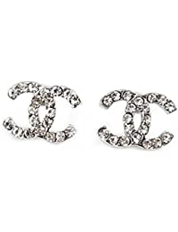 Pink ® CC versilbert Diamant-Goldfisch CC Ohrringe. Geschenk für Frauen Mädchen Kinder.: mittlerer Größe 18x14mm