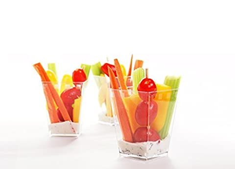 Mini 5 ounce Dessert Tumbler Cups or Clear Plastic Party Shot Glass - Set of 40 cups with Mini Plastic Spoons by Shindig