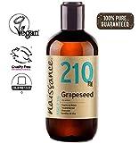 Naissance Aceite Vegetal de Semillas de Uva n. º 210 – 250ml - Puro, natural, vegano y no OGM - Hidratante natural para el cabello y la piel.