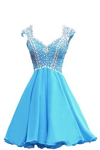 Bridal_Mall -  Vestito  - linea ad a - Senza maniche  - Donna Azzurro