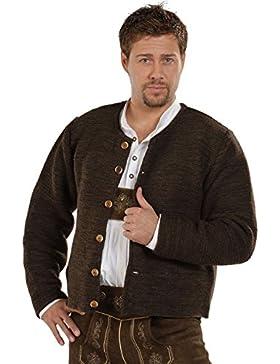 Isar-Trachten Herren Trachten Strickjacke braun glattgestrickt 'Hubert', dunkelbraun,