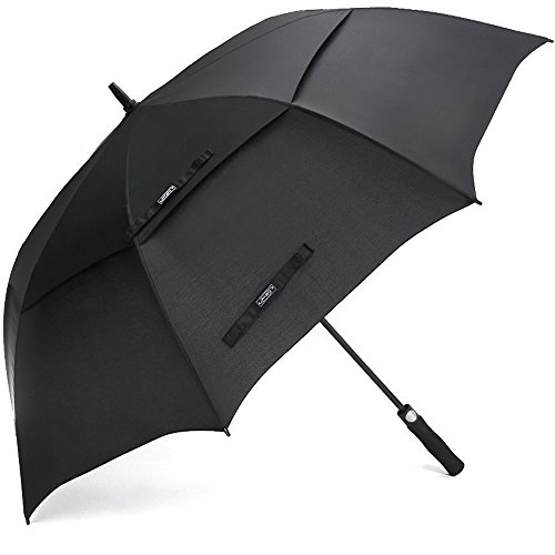 G4Free - Paraguas de Golf de 1,73 m/68 Inch, Resistente al Viento, Doble Cubierta con Ventilación, Extra Grande, Apertura Automática, con Bastón, Negro