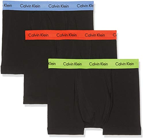Calvin Klein Herren 3P Trunk Boxershorts, Schwarz (B - Periwinkle/B Red/E Lime Wb B Lg Gmp), L (erPack 3