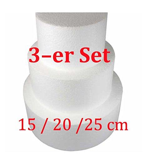 Polystyrène gâteau décoration de gâteaux factice gâteau rond Lot de 3, Ø 15/20/25 cm, hauteur 10 cm