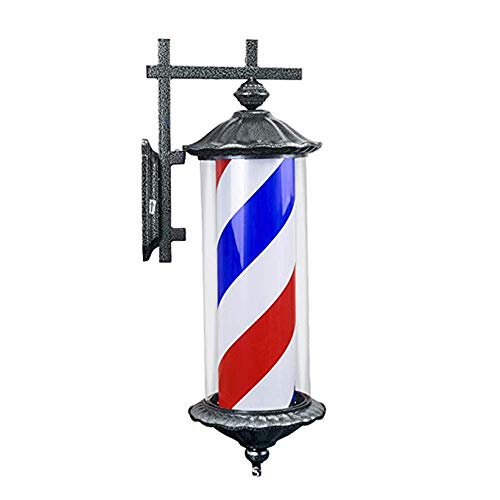 "30""LED Barber Pole Retro Light Red White Blue Rotating Rayas iluminadas Lámpara montada en la Pared Roma Style Hair Salon Barber Peluquería Letrero,A"
