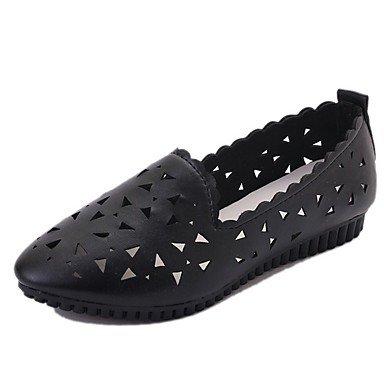 Amp; SHOESHAOGE Pour Pour Slingback Plat Blanc Femmes DÉté Chaussures Noir Robe Slip Chaussures Ons Black Trotteurs Pu Talon RA0qp