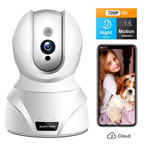 WLAN IP Kamera,KAMTRON HD WiFi Überwachungskamera,mit 350°/100°Schwenkbar,Home und Baby Monitor mit Bewegungserkennung, Zwei-Wege-Audio, Nachtsicht, unterstützt Fernalarm und Mobile App Kontrolle Kamera Mobile Handy