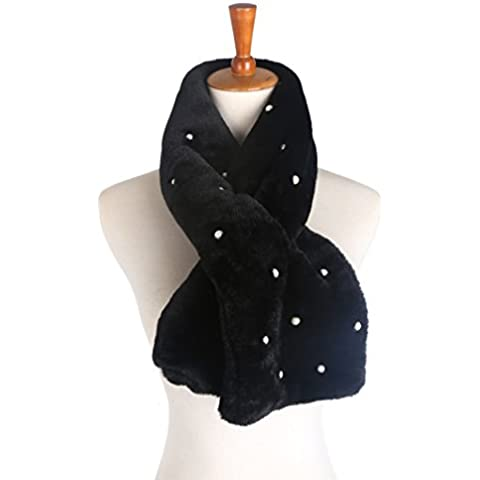 R&R Sciarpa perla calda peluche imbottito donne , (Polka Peluche)
