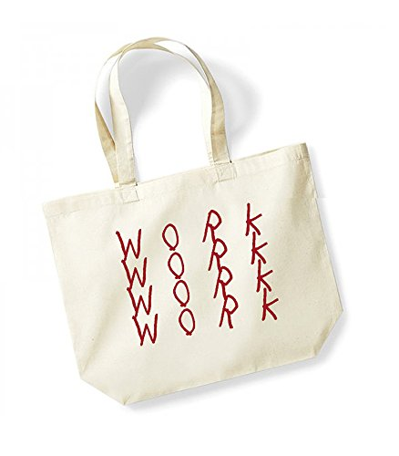 Work, Work, Work, Work - Large Canvas Fun Slogan Tote Bag Natural/Red