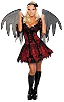 Ladies Sexy Demon Fairy Vampire Devil Fallen Angel Halloween + Extra Large Black Wings Fancy Dress Costume Outfit