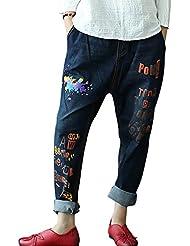 SaiDeng Mujer Casual Baggy Bordado Carta Strench Pantalones Vaqueros XL