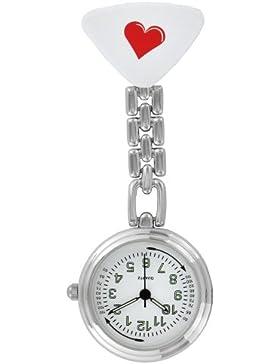 Pacific Time Schwesternuhr Krankenschwesteruhr Pulsuhr Kitteluhr Pflegeuhr Nurse Watch Analog Quarz rotes Herz...