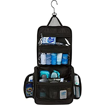 Hanging Travel Toiletry Makeup Wash Bag & Organizer with Strong Metal Swivel Hook and TSA Removable Clear bag. Perfect for Men & Women (Large)