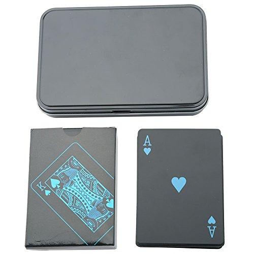 Alomejor 54pcs/Deck Wasserdicht Spielkarten Schwarz PVC Kunststoff Poker Karten Classic Magic Karten Tricks Werkzeug für Familie Party BBQ Spiel, Iron Box (Spielkarten Von Schwarz-deck)