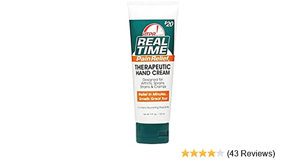 Real Time Pain Relief Therapeutic Hand Cream Tube 4 Oz. 4 Ounces