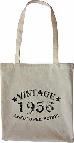 Mister Merchandise Tote Bag Vintage 1956 - Aged to Perfection 59 60 Borsa Bagaglio , Colore: Nero Naturale