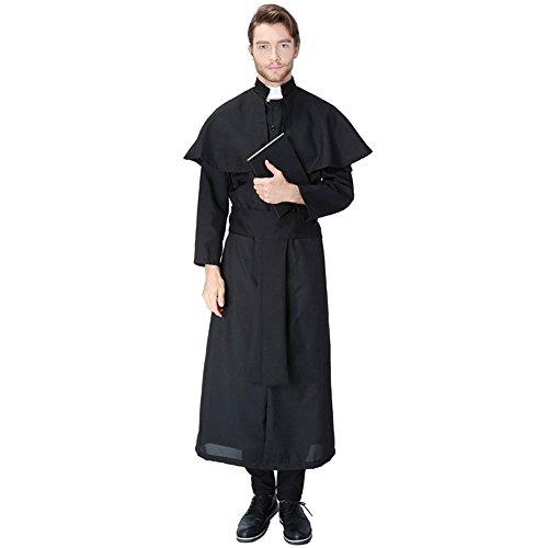 stor / Pfarrer Kostüm Robe, Schal und Schwarzer Gürtel M (Halloween Priester Kostüm)