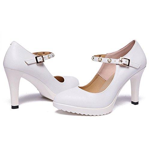YR-R Damen High Heel Closed Toe Plattform Beruf Arbeit Schuhe Stiletto Knöchelriemen Für Frauen Nachtclub Mary Jane Schuhe,White-EU:41/UK:7.5