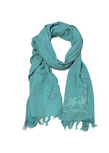 LA MARTINA sciarpa azzurra unisex con maxi logo