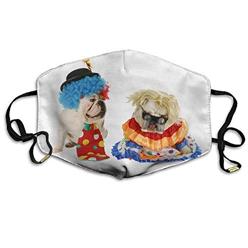 Outdoor Mouth Mask with Design, Reusable Half Face Mask Anti-dust Mask, Unisex Dogs Two Bulldog with Uniform Glasses Mouth Face Masks Women Cool Motorcycle Anti Dust Face Mouth Mask-Reusable Mens