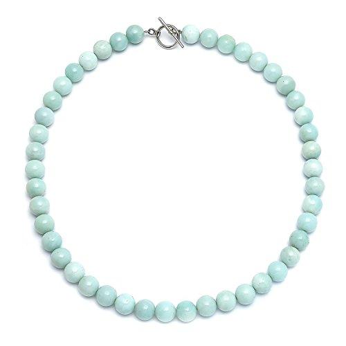 Bling jewelry luce amazonite aqua blu rotonda gem stone 10mm di cordone filo collana per donne placcate argento fermaglio 18 pollici