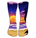 908iop 980 Calze Alte Men's Dress Socks Fun Athletic Socks 19.7'(50cm) Sunset Beach Palms Tropical Palm Trees Sunrise Time Grunge Background Kawaii
