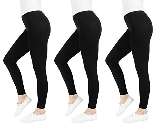 FM London Casual Leggings, Nero (Black 1), 42 (Taglia Unica: Medium) (Pacco da 3) Donna