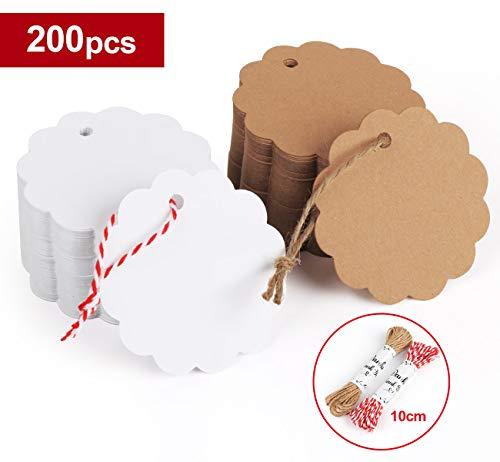 Sweelov 200stk Kraftpapier Anhänger Etiketten Geschenkanhänger 6 * 6cm mit Jute Schnur 20M für Hochzeit Geschenke zum Basteln