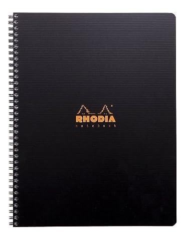 Notebook RHODIACTIVE spirale A4 160 pages Ligné avec marge et cadre en-tête microperforées et perforées 6 trous 90g, règle polypro et 6 marque-pages repositionnables