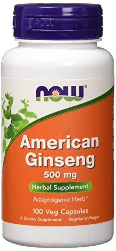 Ginseng Lebensmittel (NOW Foods American Ginseng, 100 Capsules, 500 mg)