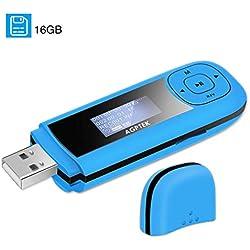 AGPTEK Lecteur MP3 Portable avec Écran LCD USB et Prise FM Bleu Capacité 64 Go