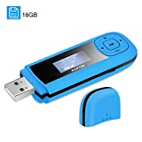 AGPTEK 16GB Tragbare USB MP3 Player 1 Zoll LCD Display USB Stick Musik Player mit FM, Aufnahme, unterstützt bis zu 64 GB, Blau